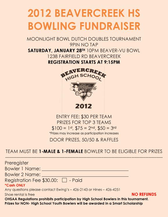 Beaverview Hs Fundraiser Flyer Raiders Bowling